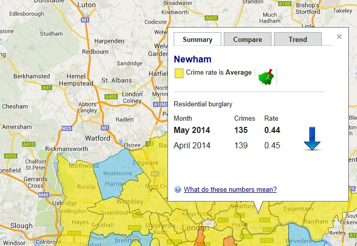 Residential burglary stats Newham